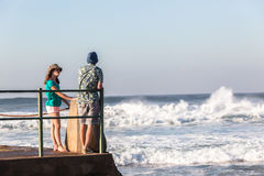 Teenagers Girl Boy Tidal Pool Ocean Waves Royalty Free Stock Photos