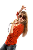 Teenagers girl singing Royalty Free Stock Photos
