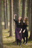Teenagers girls make selfie phone in the forest. Friends. Royalty Free Stock Photography