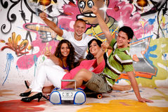 Teenagers graffiti wall Stock Photo