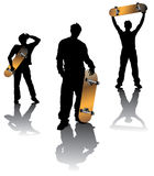 Teenagers group. Holding skateboard in different poses Royalty Free Stock Photo