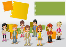 Teenagers. Group of cartoon young people. Teenagers Stock Photo
