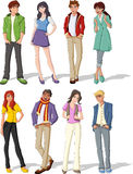 Teenagers. Group of fashion cartoon young people. Teenagers Stock Photos