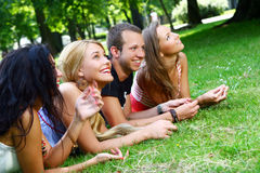 Teenagers group  in the park Royalty Free Stock Photos