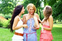 Teenagers group  in the park Stock Image