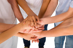 Teenagers with hands together Royalty Free Stock Image