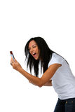 Teenagers have fun with SMS message. Young woman has fun with SMS message Royalty Free Stock Images