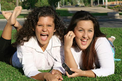 Teenagers having fun. Laughing happy teenagers, best friends Stock Photos