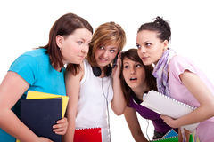 Teenagers having fun with a cellphone Royalty Free Stock Photography