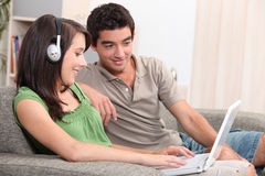 Teenagers having fun at home Stock Photos