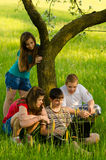 Teenagers having fun on the meadow. Four teenage friends having fun with laptop on the meadow on sunny spring day Royalty Free Stock Images