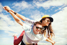 Teenagers having fun outside Royalty Free Stock Photo
