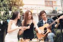 Teenagers are having fun together and celebrate the festival. royalty free stock images