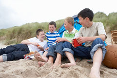 Teenagers having picnic. At the beach Royalty Free Stock Images