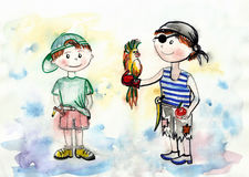 Teenagers hooligans painted in watercolor Royalty Free Stock Photography