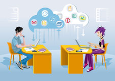 Teenagers And Internet. A teenage boy and a teenage girl, each one at his desk and working with a laptop. Over them a cloud and icons of different applications Stock Images