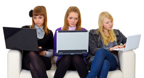 Teenagers on the internet Stock Photo