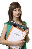 Teenagers on job search. With application briefcase against white background Stock Image