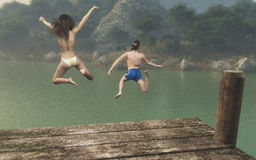 The teenagers jumping Royalty Free Stock Photo