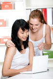 Teenagers with Laptop Royalty Free Stock Photography