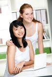 Teenagers with Laptop Royalty Free Stock Photo