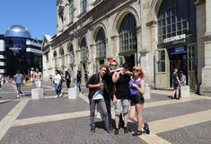 Teenagers in Lille, France Royalty Free Stock Images