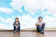 Free Teenagers Listen Music . Mixed Media Stock Photo - 127126870