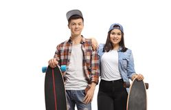 Teenagers with longboards smiling at the camera. Isolated on white background stock images