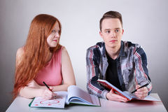 Teenagers love at school Stock Photography