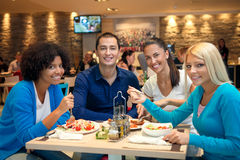 Teenagers on lunch. Group of teenagers students on lunch Royalty Free Stock Photos