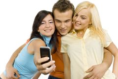 Teenagers making picture Royalty Free Stock Images