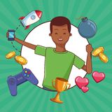 Teenagers and smartphone games. Teenagers man and smartphone games vector illustration graphic design royalty free illustration