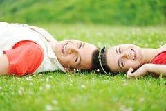 Teenagers outdoor. Beautiful scene, boy and girl Royalty Free Stock Image