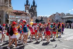 Teenagers parading at the Sokol festival in the streets of Pragu Stock Photo