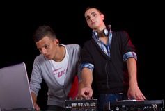 Teenagers at a party with djs Royalty Free Stock Photography