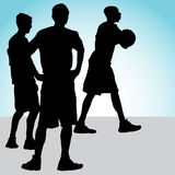Teenagers Playing Basketball Royalty Free Stock Photos