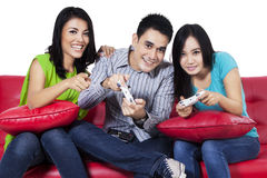 Teenagers playing games Stock Photos