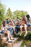 Teenagers playing guitar and singing Royalty Free Stock Image