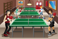 Teenagers playing ping pong. A vector illustration of teenagers playing ping pong Stock Photos