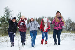 Teenagers playing snowballs Stock Photo