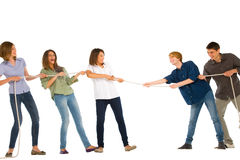 Teenagers playing tug of wa Royalty Free Stock Image