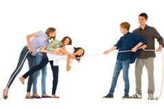 Teenagers playing tug of wa Royalty Free Stock Photo