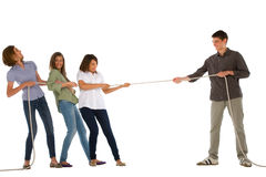 Teenagers playing tug of wa Royalty Free Stock Photography