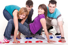 Teenagers  playing twister Royalty Free Stock Images