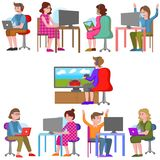 Teenagers playing video games. stock illustration