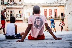 Free Teenagers Plays Soccer On A Playground, Havana Stock Photos - 139763633