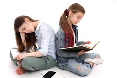 Teenagers prepare homework, read books. White background stock photo