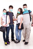 Teenagers with protection masks Royalty Free Stock Photography