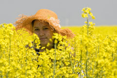 Teenagers in the rape field Royalty Free Stock Images