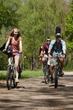 Teenagers riding on bicycles Royalty Free Stock Photo